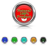 100 prozent natürliches produkt icon - set 6 farben — Stockvektor