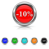 10 percent discount icon - six colours set — Stock Vector