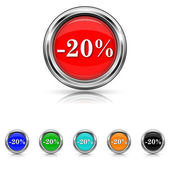 20 percent discount icon - six colours set — Stock Vector