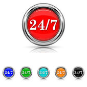 24 7 icon - six colours set — Wektor stockowy