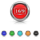16 9 TV icon - six colours set — Stock vektor