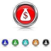 Dollar sack icon - six colours set — Vector de stock