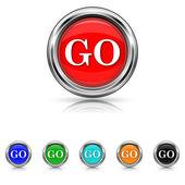 GO icon - six colours set — Stock vektor