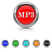 MP3 icon - six colours set — Stock Vector