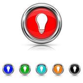 Light bulb - idea icon - six colours set — Stock Vector