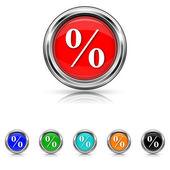 Percent icon - six colours set — ストックベクタ