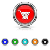 Shopping cart icon - six colours set — Stock Vector