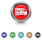 24 7 delivery truck icon - six colours set — Stockvektor