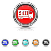 24H delivery truck icon - six colours set — Vettoriale Stock