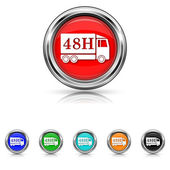48H delivery truck icon - six colours set — Vettoriale Stock