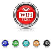 WIFI free icon - six colours set — Stock Vector