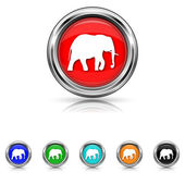 Elephant icon - six colours set — Stock Vector