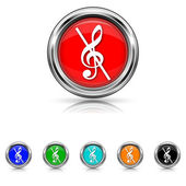 Musical note - no sound icon - six colours set — Stock Vector