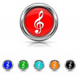 Musical note icon - six colours set — Stockvektor
