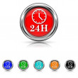 24H clock icon - six colours set — Stock Vector