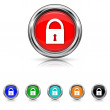 Lock icon - six colours set — Stock Vector