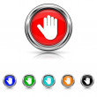 Stop icon - six colours set — Stock Vector