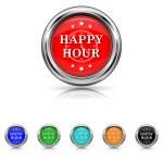 Happy hour icon - six colours set — Stock Vector #40767387