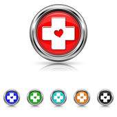 Cross with heart icon - six colours set — Stock Vector