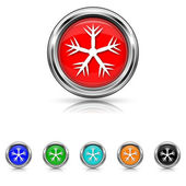 Snowflake icon - six colours set — Stock Vector