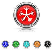 Снежинка icon - шесть цветов набор — Cтоковый вектор