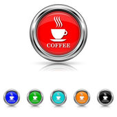 Coffee cup icon - six colours set — Stock Vector