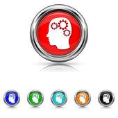 Brain icon - six colours set — Stock Vector
