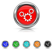 Settings icon - six colours set — Stock Vector