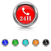 24H phone icon - six colours set — Stock Vector