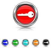 Key icon - six colours set — Stock Vector