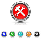 Tools icon - six colours set — Stock vektor