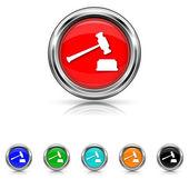 Judge hammer icon - six colours set — Stock Vector