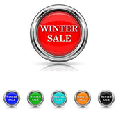 Winter sale icon - six colours set — Stock Vector