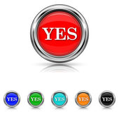 Yes icon - six colours set — Stock Vector