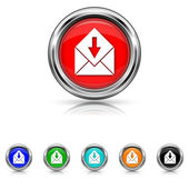 Receive e-mail icon - six colours set — Stock Vector