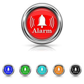 Alarm icon - six colours set — Stock Vector
