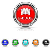 E-book icon - six colours set — Stock vektor