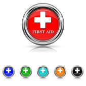 First aid icon - six colours set — Stock Vector
