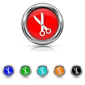 Cut icon - six colours set — Stock Vector