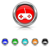 Gamepad icon - six colours set — Stock Vector
