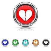 Broken heart icon - six colours set — Wektor stockowy