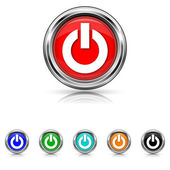 Power button icon - six colours set — Stock Vector