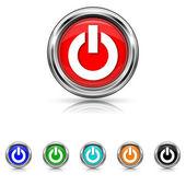 Power button icon - six colours set — Stock vektor