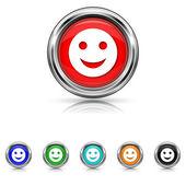 Smiley icon - six colours set — Stock vektor