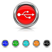 USB icon - six colours set — Stock Vector