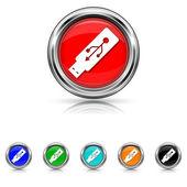 Usb flash drive icon - six colours set — Stock Vector