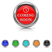 Coming soon icon - six colours set — Stock Vector