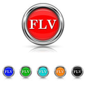 FLV icon - six colours set — Stock Vector
