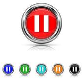 Pause icon - six colours set — Vector de stock