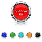 Follow us icon - six colours set — Stock Vector
